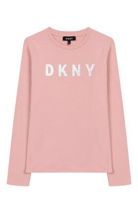 Детская хлопковый лонгслив DKNY розового цвета, арт. D35Q20/461 FW19/20 | Фото 1