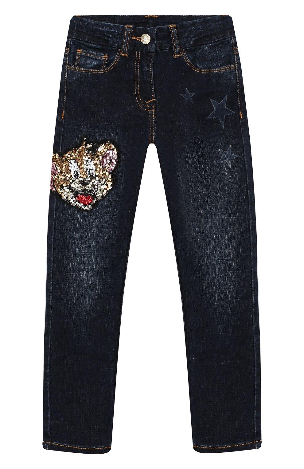 Детские джинсы с пайетками MONNALISA голубого цвета, арт. 194412RJ | Фото 1