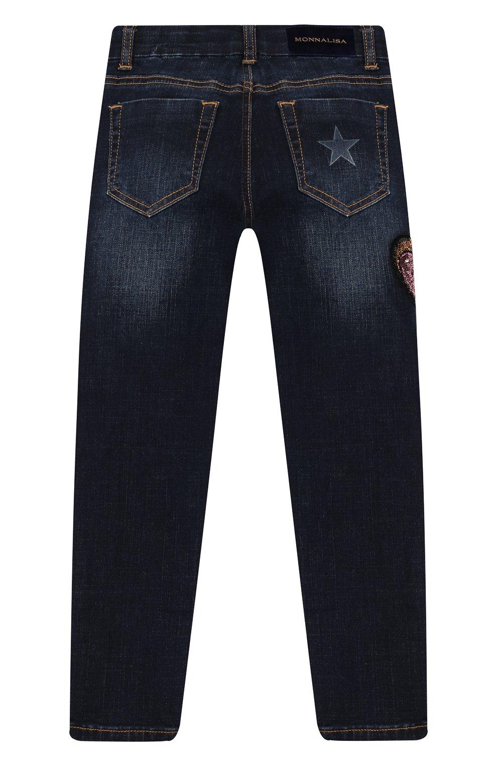 Детские джинсы с пайетками MONNALISA голубого цвета, арт. 194412RJ | Фото 2