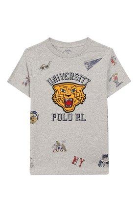 Детская хлопковая футболка POLO RALPH LAUREN серого цвета, арт. 323750956 | Фото 1