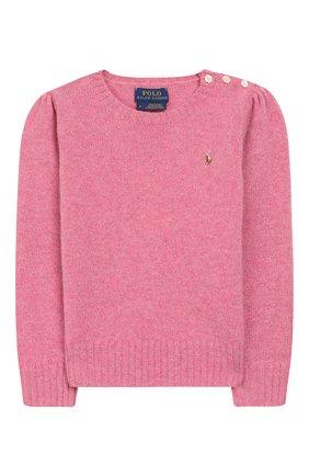 Детский пуловер из шерсти и кашемира POLO RALPH LAUREN розового цвета, арт. 311751019 | Фото 1