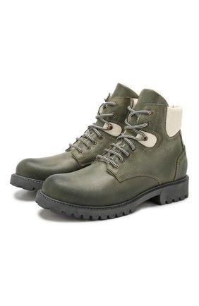 Детские кожаные ботинки с меховой отделкой IL GUFO хаки цвета, арт. G380/VIT. 0RLAND0C0L0RS/35-42 | Фото 1
