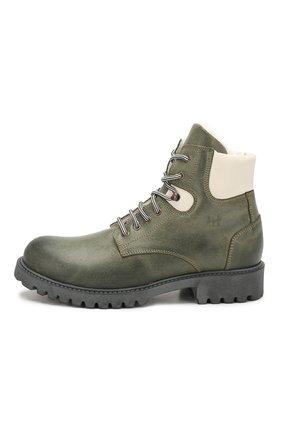 Детские кожаные ботинки с меховой отделкой IL GUFO хаки цвета, арт. G380/VIT. 0RLAND0C0L0RS/35-42 | Фото 2