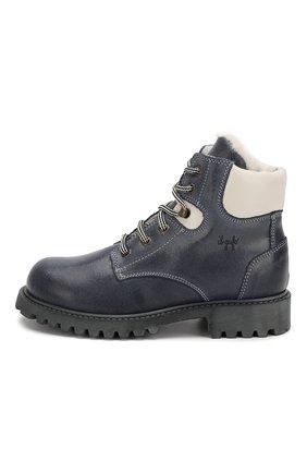 Детские кожаные ботинки с меховой отделкой IL GUFO синего цвета, арт. G380/VIT. 0RLAND0C0L0RS/31-34 | Фото 2