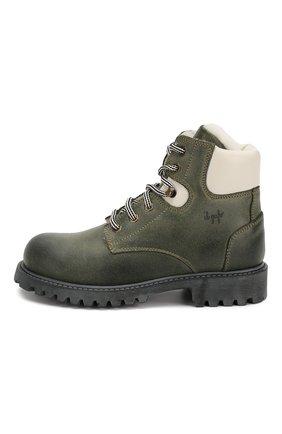Детские кожаные ботинки с меховой отделкой IL GUFO хаки цвета, арт. G380/VIT. 0RLAND0C0L0RS/31-34 | Фото 2
