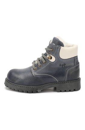 Детские кожаные ботинки с меховой отделкой IL GUFO синего цвета, арт. G380/VIT. 0RLAND0C0L0RS/27-30 | Фото 2