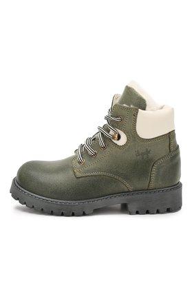 Детские кожаные ботинки с меховой отделкой IL GUFO хаки цвета, арт. G380/VIT. 0RLAND0C0L0RS/27-30 | Фото 2