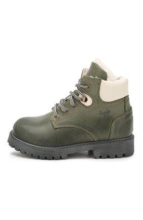 Детские кожаные ботинки с меховой отделкой IL GUFO хаки цвета, арт. G380/VIT. 0RLAND0C0L0RS/23-26 | Фото 2