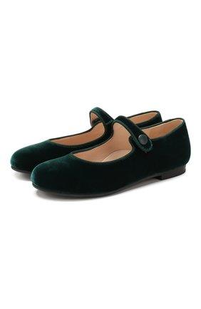 Бархатные туфли с перемычкой | Фото №1