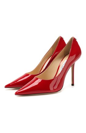 Женская кожаные туфли love 100 JIMMY CHOO красного цвета, арт. L0VE 100/PWJ | Фото 1
