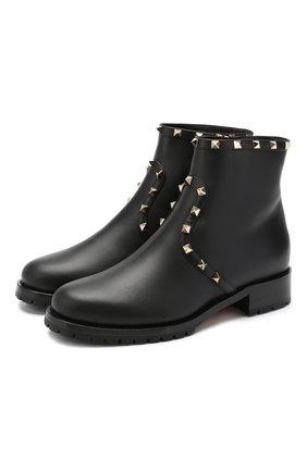 Женские кожаные ботинки valentino garavani rockstud VALENTINO черного цвета, арт. SW2S0I57/XHQ | Фото 1