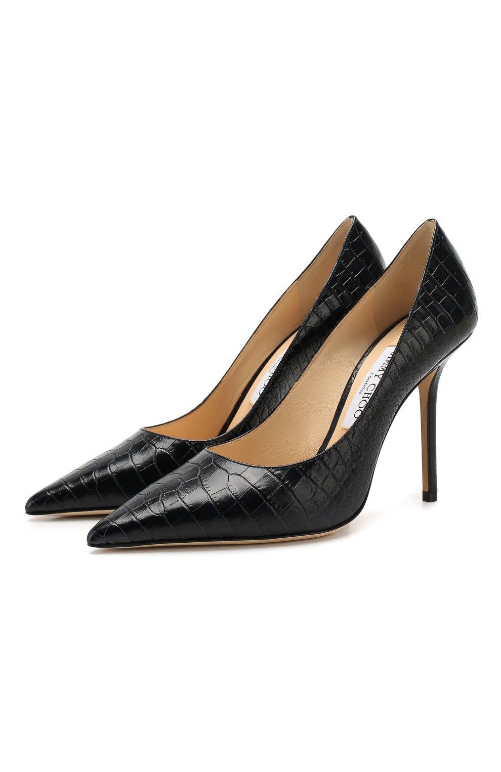 Женские кожаные туфли love 100 JIMMY CHOO темно-синего цвета, арт. L0VE 100/CCL   Фото 1