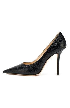 Женские кожаные туфли love 100 JIMMY CHOO темно-синего цвета, арт. L0VE 100/CCL   Фото 3
