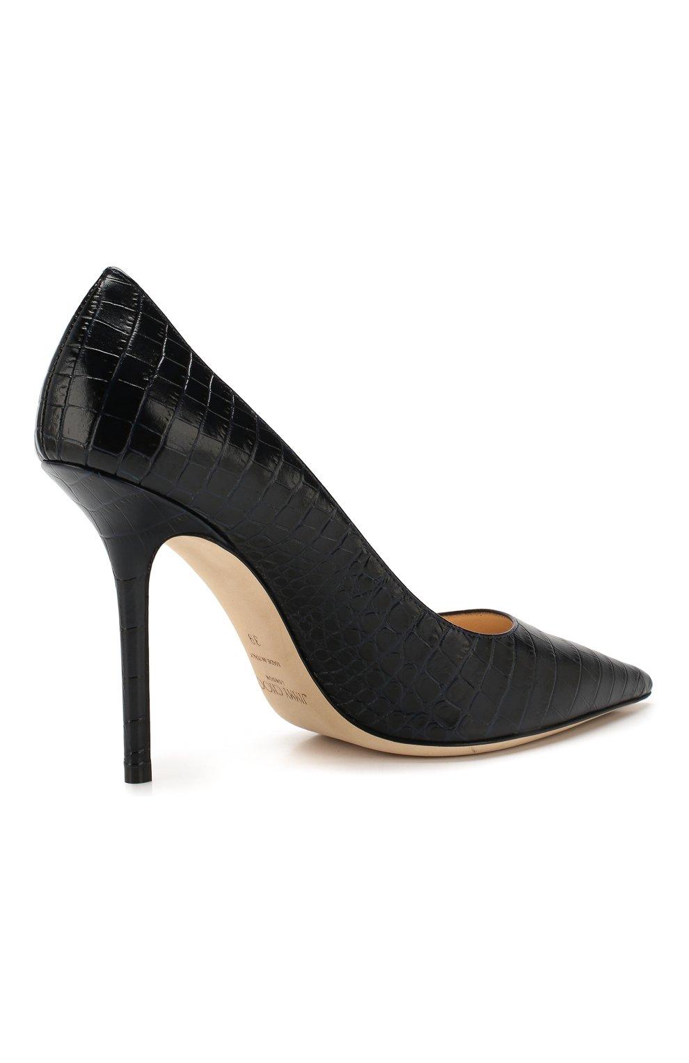 Женские кожаные туфли love 100 JIMMY CHOO темно-синего цвета, арт. L0VE 100/CCL   Фото 4