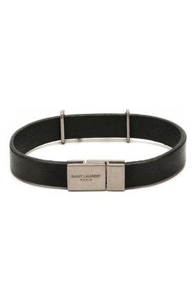 Женский кожаный браслет SAINT LAURENT черного цвета, арт. 559355/0IH0E | Фото 2
