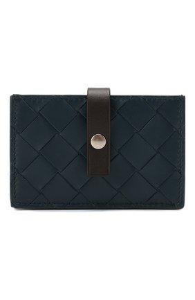 Женский кожаный футляр для кредитных карт BOTTEGA VENETA синего цвета, арт. 592776/V00BM | Фото 1