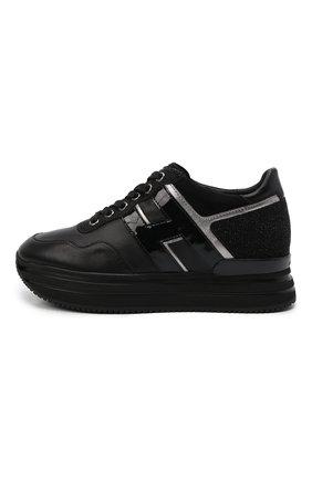 Женские кожаные кроссовки HOGAN черного цвета, арт. HXW4830CB80LVK | Фото 2