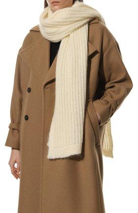 Женский шерстяной шарф TAK.ORI белого цвета, арт. AC105MW018PF17 | Фото 2