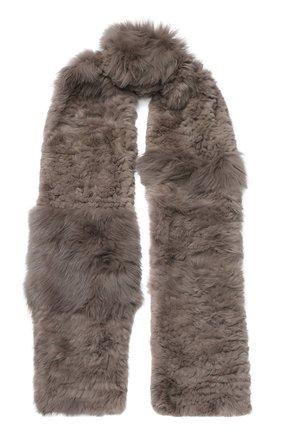 Мужские меховой вязаный шарф YVES SALOMON серого цвета, арт. 9WAA009XXRDLL | Фото 1