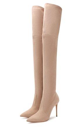 Женские замшевые ботфорты CASADEI бежевого цвета, арт. 1T853E1001T00053105 | Фото 1