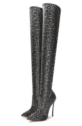 Женские текстильные ботфорты CASADEI серебряного цвета, арт. 1T927N120MT00269202 | Фото 1