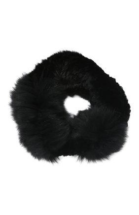 Мужские меховой шарф-снуд YVES SALOMON черного цвета, арт. 9WAA050XXRDLL | Фото 1