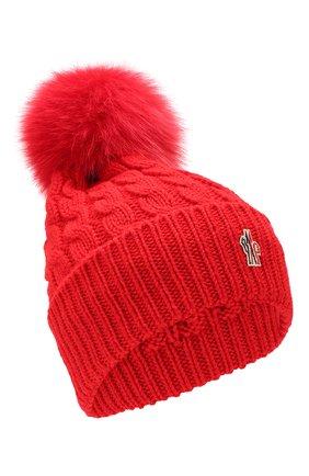 Женский шерстяная шапка MONCLER красного цвета, арт. E2-098-00228-10-0402A | Фото 1