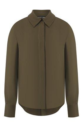 Женская шелковая рубашка TOM FORD хаки цвета, арт. CA3134-FAX040 | Фото 1