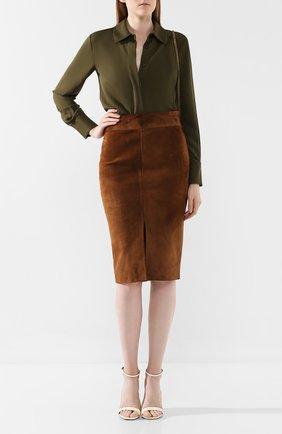 Женская шелковая рубашка TOM FORD хаки цвета, арт. CA3134-FAX040 | Фото 2