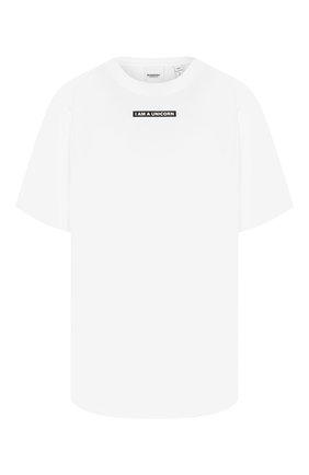 Женская хлопковая футболка BURBERRY белого цвета, арт. 8016890   Фото 1 (Материал внешний: Хлопок; Рукава: Короткие; Силуэт Ж (для верхов): Оверсайз; Статус проверки: Проверена категория; Женское Кросс-КТ: Футболка-одежда; Стили: Кэжуэл; Принт: С принтом; Длина (для топов): Удлиненные)
