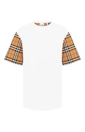 Женская хлопковая футболка BURBERRY белого цвета, арт. 8014896 | Фото 1 (Силуэт Ж (для верхов): Приталенный; Рукава: Короткие; Материал внешний: Хлопок; Стили: Кэжуэл)