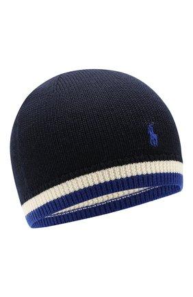 Детского шерстяная шапка POLO RALPH LAUREN темно-синего цвета, арт. 323751649 | Фото 1