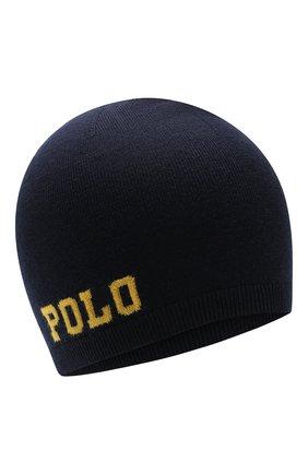 Детского шерстяная шапка POLO RALPH LAUREN темно-синего цвета, арт. 323751591 | Фото 1