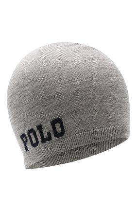Детского шерстяная шапка POLO RALPH LAUREN серого цвета, арт. 323751591 | Фото 1
