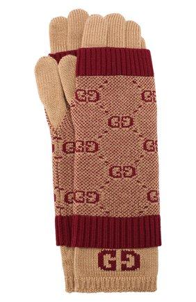 Детские шерстяные перчатки GUCCI бордового цвета, арт. 574724/4K208 | Фото 1