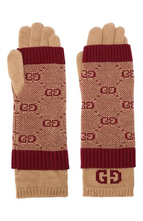 Детские шерстяные перчатки GUCCI бордового цвета, арт. 574724/4K208 | Фото 2