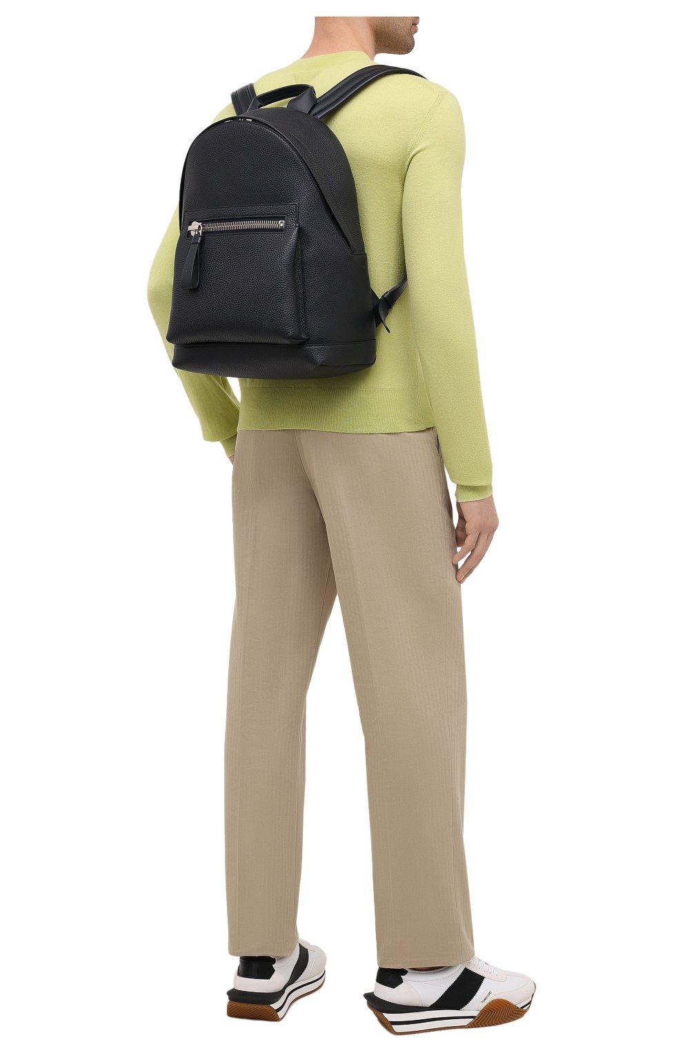 Мужской кожаный рюкзак TOM FORD темно-синего цвета, арт. H0414P-LCL041 | Фото 2