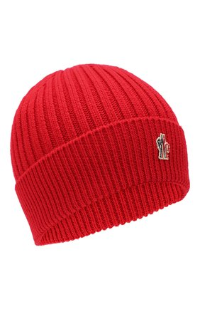 Мужская шерстяная шапка MONCLER красного цвета, арт. E2-097-00259-00-04761 | Фото 1