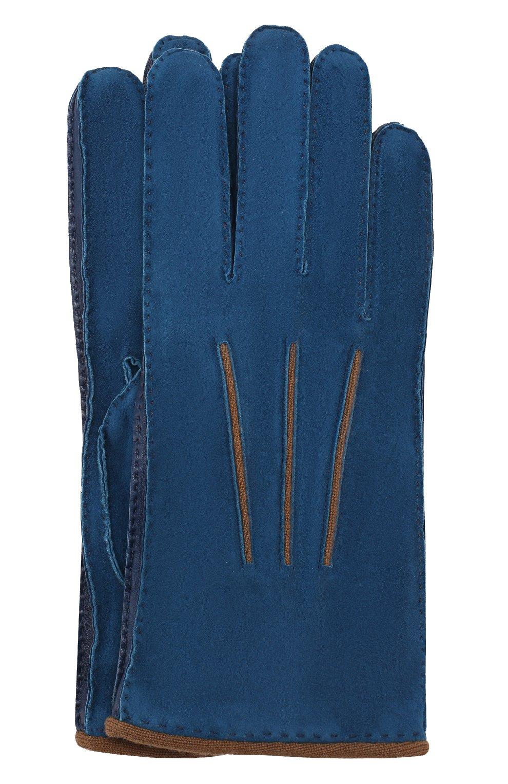 Мужские замшевые перчатки LORO PIANA синего цвета, арт. FAF8675   Фото 1
