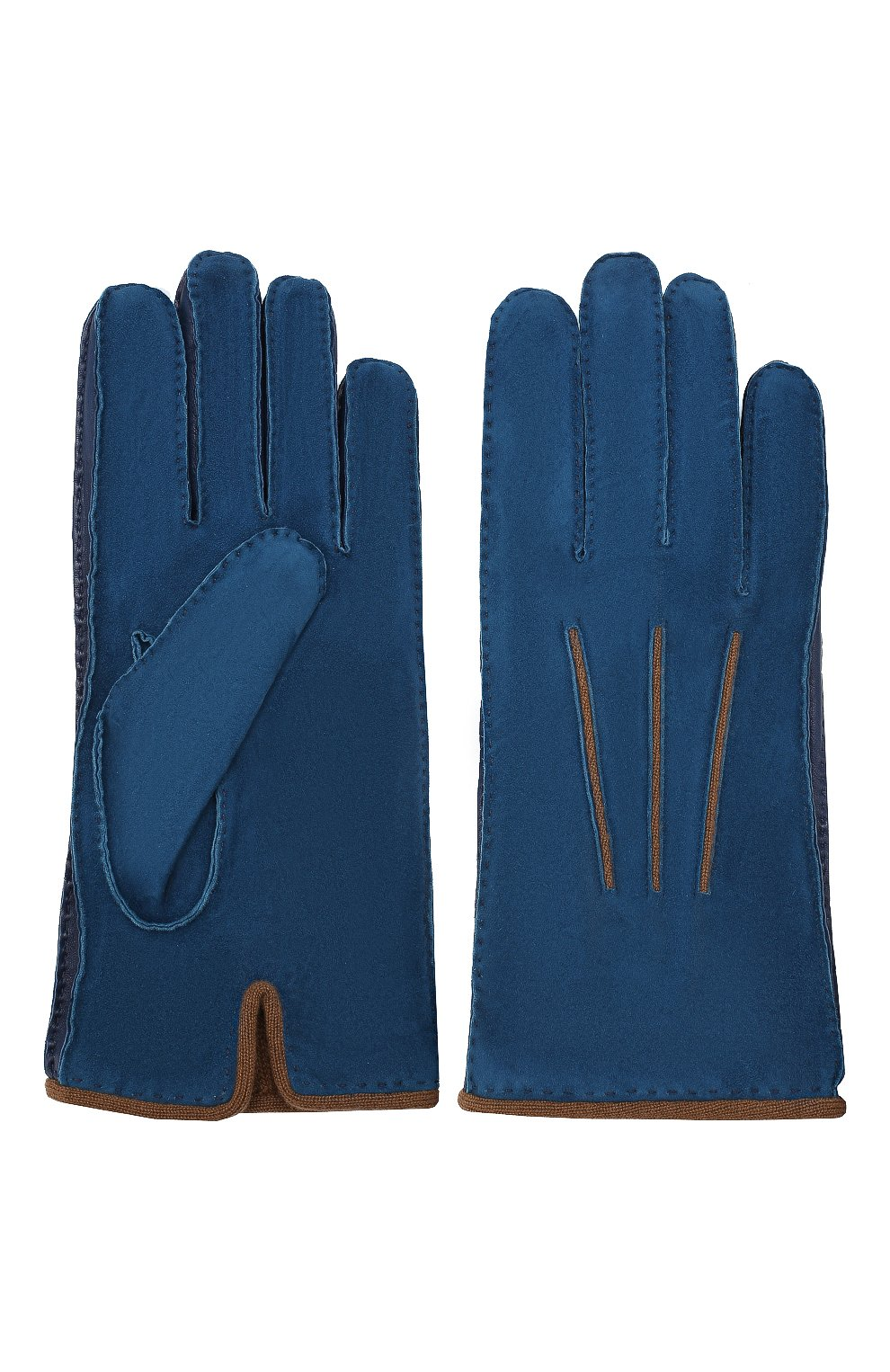 Мужские замшевые перчатки LORO PIANA синего цвета, арт. FAF8675   Фото 2
