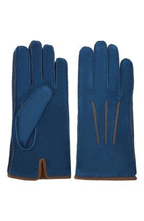 Мужские замшевые перчатки LORO PIANA синего цвета, арт. FAF8675 | Фото 2