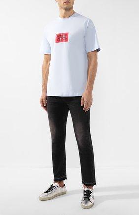 Мужская хлопковая футболка BURBERRY светло-голубого цвета, арт. 8014823 | Фото 2
