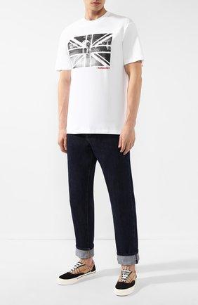 Мужская хлопковая футболка BURBERRY белого цвета, арт. 8016702 | Фото 2
