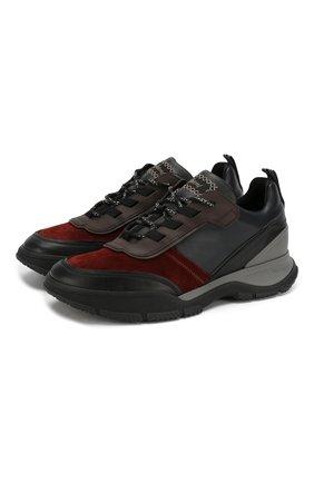 Мужские кожаные кроссовки BRIONI темно-синего цвета, арт. QHH30L/08798 | Фото 1