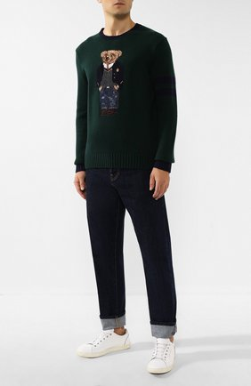 Мужской шерстяной джемпер POLO RALPH LAUREN зеленого цвета, арт. 710766110 | Фото 2