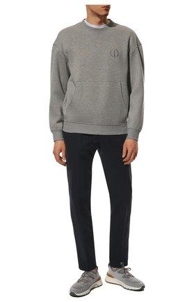 Мужской хлопковые брюки LORO PIANA темно-синего цвета, арт. FAE8346 | Фото 2