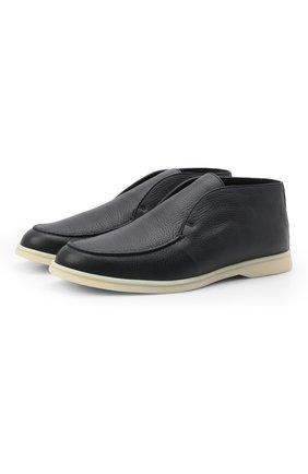 Мужские кожаные ботинки open walk LORO PIANA темно-синего цвета, арт. FAI3276 | Фото 1