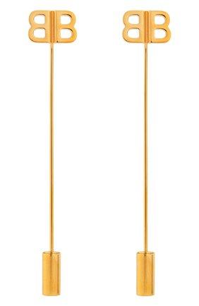 Женские серьги bb pin BALENCIAGA золотого цвета, арт. 503794/TZ14G | Фото 1