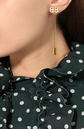 Женские серьги bb pin BALENCIAGA золотого цвета, арт. 503794/TZ14G | Фото 2
