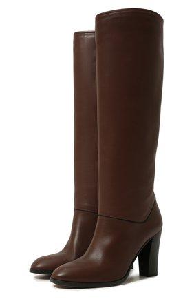 Женские кожаные сапоги debbie LORO PIANA коричневого цвета, арт. FAI7052 | Фото 1